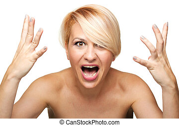 angry blond girl screaming