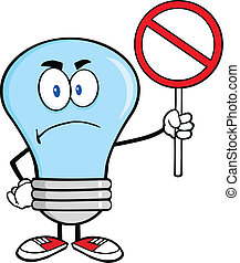 Angry Blue Light Bulb Character