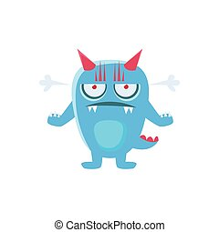 Angry Blue Monster With Horns And Spiky Tail