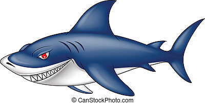 angry blue shark - vector illustration of angry blue shark