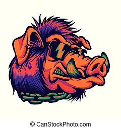 Angry boar with sunglasses