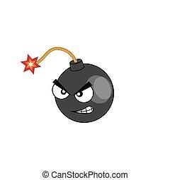 Angry bomb. Cartoon illustration