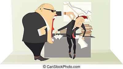 Angry boss and employee illustration