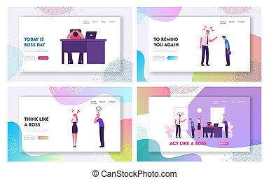 Angry Boss and Employees Conflict Situation Website Landing Page Set. Furious Director or Ceo Yelling on Delinquent Workers in Office. Frustration Web Page Banner. Cartoon Flat Vector Illustration