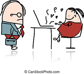 Angry boss and secretary, cartoon for your design. Vector...
