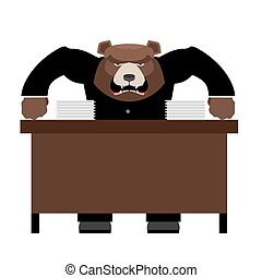Angry Boss bear scolds. Wicked head yelling at staff. Vector illustration of Office life.