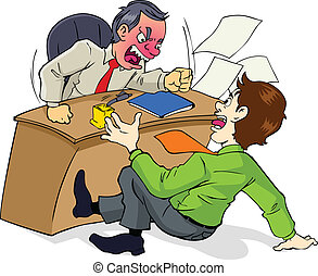 Angry Boss - Cartoon illustration of a boss who is upset to ...