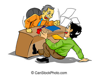 Angry Boss - Cartoon illustration of a boss who is upset to...