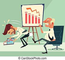 Angry boss character kick worker character ass. Financial crisis. Graph down. Vector flat cartoon illustration