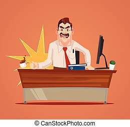 Angry boss character scream. Vector flat cartoon illustration