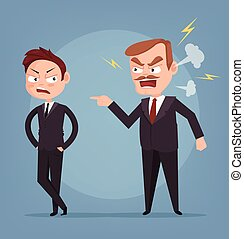 Angry boss character yelling at worker. Vector flat cartoon illustration