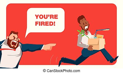 Angry Boss Dismiss Bad Worker Scared Employee Run