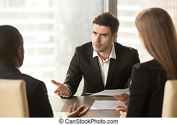 Angry boss dissatisfied with bad result, partners arguing...