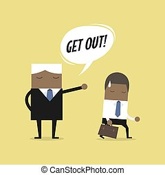 Angry boss firing African businessman employee. Layoff concept, jobless and employee job reduction concept.