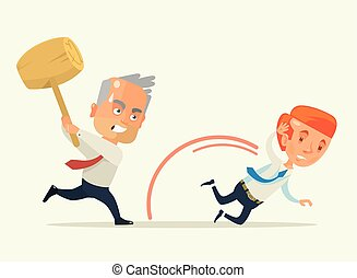 Angry boss hold hammer chase worker. Vector flat cartoon illustration