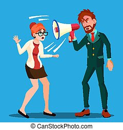 Angry Boss Man Screaming In Megaphone At Scared Woman Empolyee Vector. Isolated Illustration