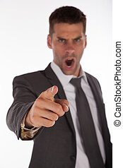Angry boss pointing finger