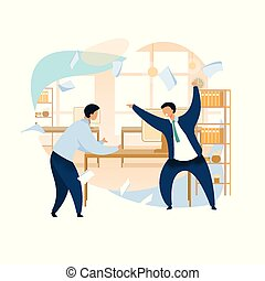 Angry Boss Shouting at Employee Vector Clipart