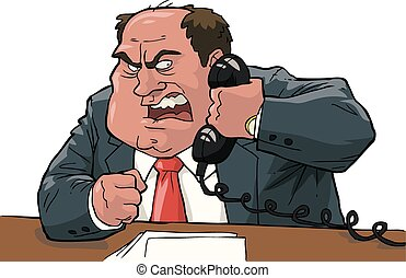 Angry boss shouting into the phone vector illustration