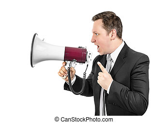 Angry boss shouting with a megaphone.