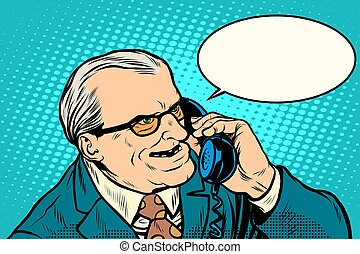 Angry boss talking on the phone