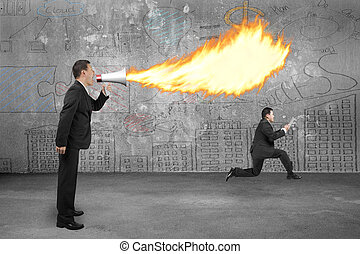 Angry boss using megaphone yelling to employee and spitting fire