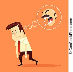 Angry boss. Fired office worker character. Vector flat...