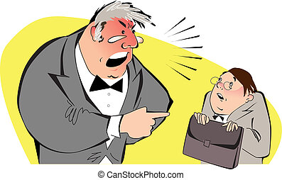 Angry boss - Vector illustration of an angry boss shouting...