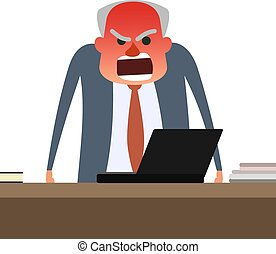 Angry boss with face getting red. Gray man standing behind table and yelling. Flat vector illustration on white background.