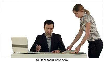 Angry boss with female worker in office on white background isolated