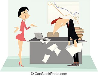 Angry boss woman and employee man illustration