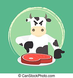 Angry bovine disapproving meat consumption. Invitation to veganism and vegetarianism. No beef.