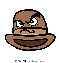 angry bowler hat cartoon illustration