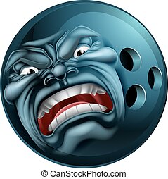 Angry Bowling Ball Sports Cartoon Mascot - An angry mean...