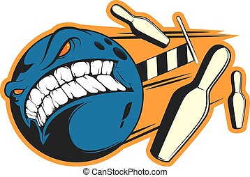 "Angry bowling ball sticker vector concept - ""Crazy bowling""..."