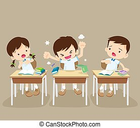 angry boy and friends in classroom