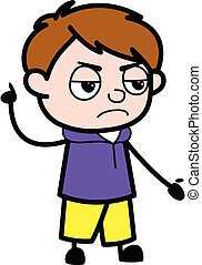 Angry Boy Cartoon with one hand raised