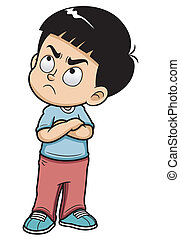 Angry boy - Vector illustration of Angry teenage boy