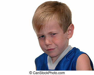 Angry Boy - Six year old blond hair boy with an angry...