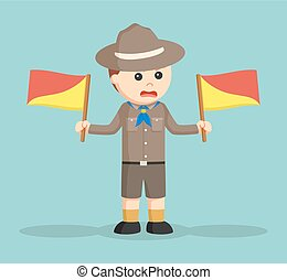 angry boy scout holding semaphore flags