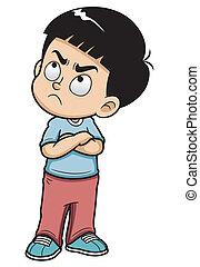 Angry boy - Vector illustration of Angry teenage boy