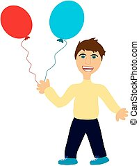 Angry boy with balloons