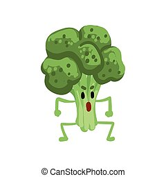 Angry Broccoli Vegetable Character with Funny Face Vector Illustration