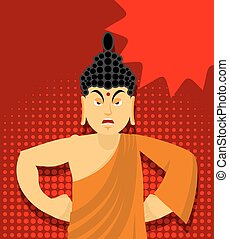 Angry Buddha in pop art style. Indian god wrathful. Supreme ...