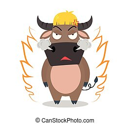 Angry buffalo cartoon character on white background - vector illustration