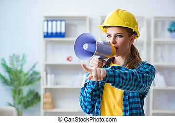 Angry building supervisor with megaphone