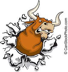 Angry mad bull bursting through wall