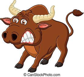 Angry bull cartoon - Vector illustration of Angry bull...