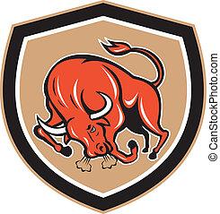 Angry Bull Charging Shield Cartoon