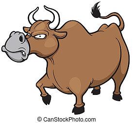 Angry bull - Vector illustration of cartoon Angry bull